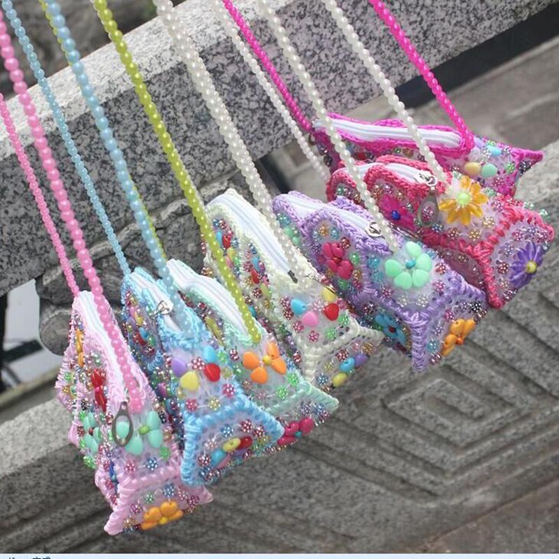 Omuz inci çiçeği çanta eli - renkli inci çanta Moda cep telefonu çantası bozuk para cüzdanı
