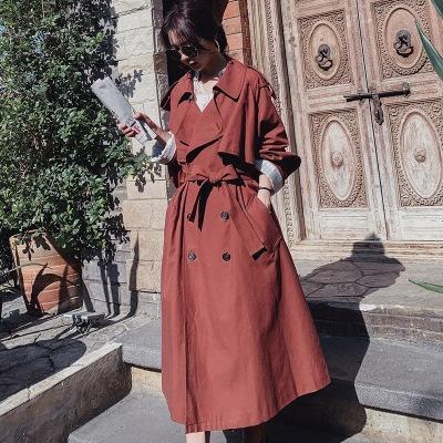 6YcHF QKKcR 2020 Frühling britischer Mantel Windjacke Mantel zweireihig Farbe feste Manschette Spitzen-up lange Windjacke Damen-over-the-Knie Frauen
