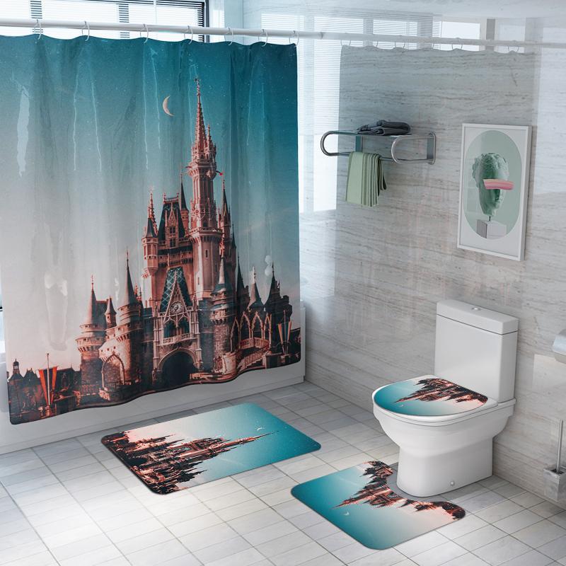 Neue kreative europäische Art Duschvorhang Duschvorhang Matte Teppich Badezimmer Mat Toiletten-Abdeckung Sitz
