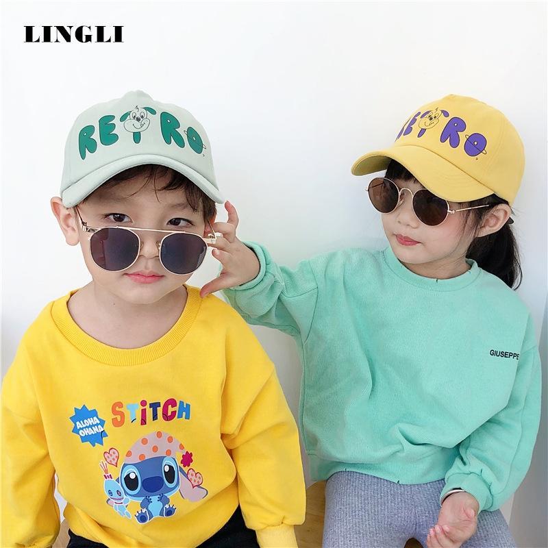 rErrd Sevimli çizgi film çocuk tepeli Koreli ins moda mektup köpek beyzbol sivri şapka şemsiye hatbaseball güneş şapkası güneş koruma güneşler