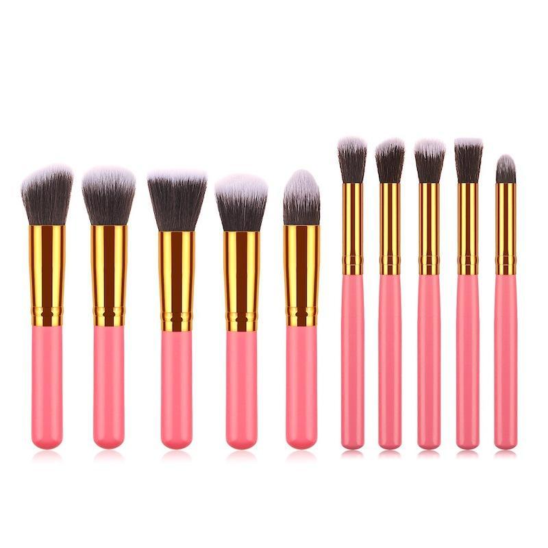 10pcs/set Mini size Kabuki Brush Makeup Brush Set Foundation Powder Eyeshadow Maquiagem Cosmetics MakeUp Brushes beauty Tool Kits free DHL