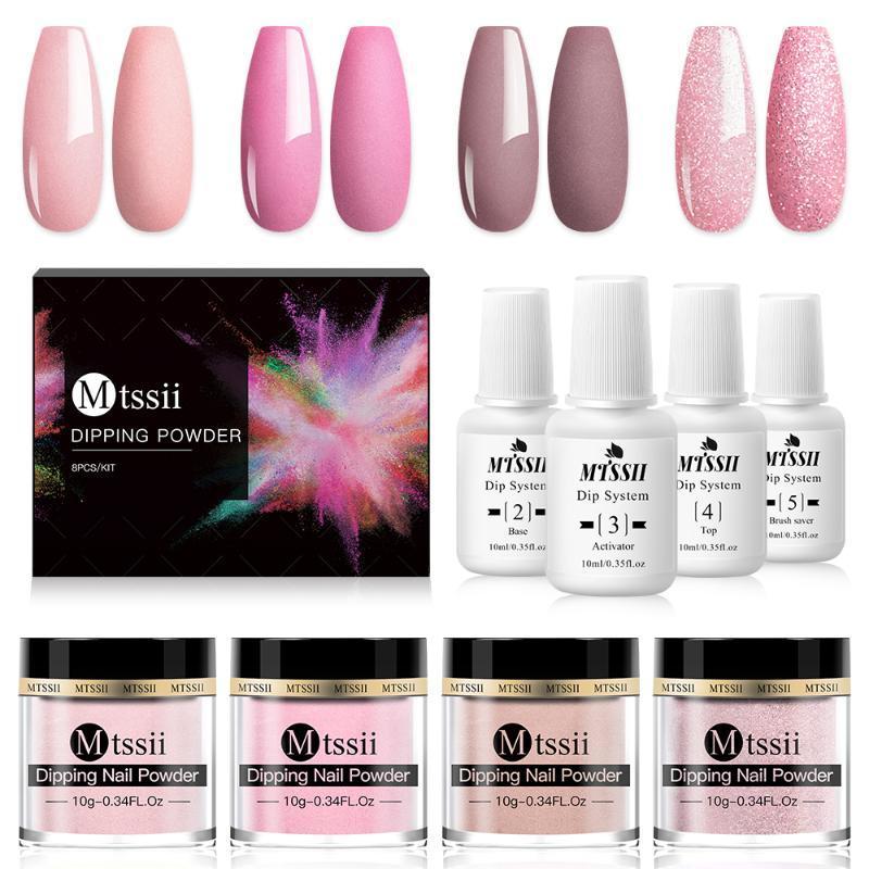 8pcs inmersión Nail Powder Set desnuda serie rosada sistema de inmersión Holographics del polvo del polvo seco Natural Arte Decoración