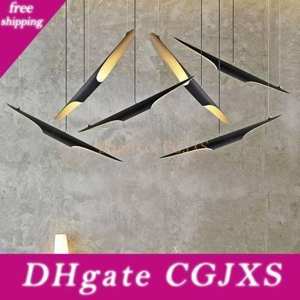 2019 lámpara colgante Nueva Delightfull Coltrane creativo moderno oblicuo E27x2 Aluminio Negro color oro Moda restaurante de iluminación