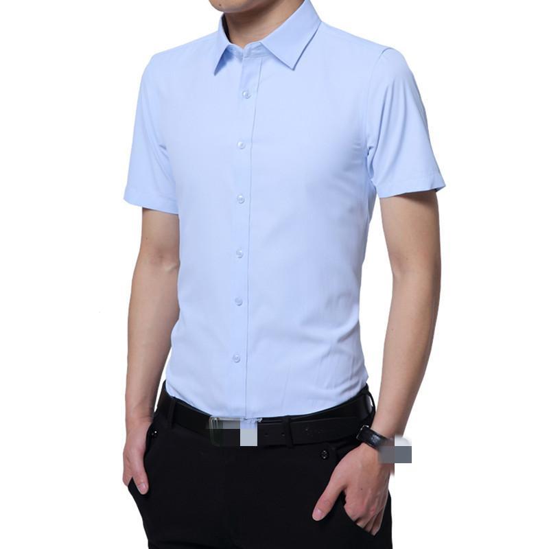YG6188-C1048 Été 2020 nouvelle couleur pure d'affaires assiette de la mode masculine des jeunes manches courtes chemise pas cher en gros Livraison gratuite