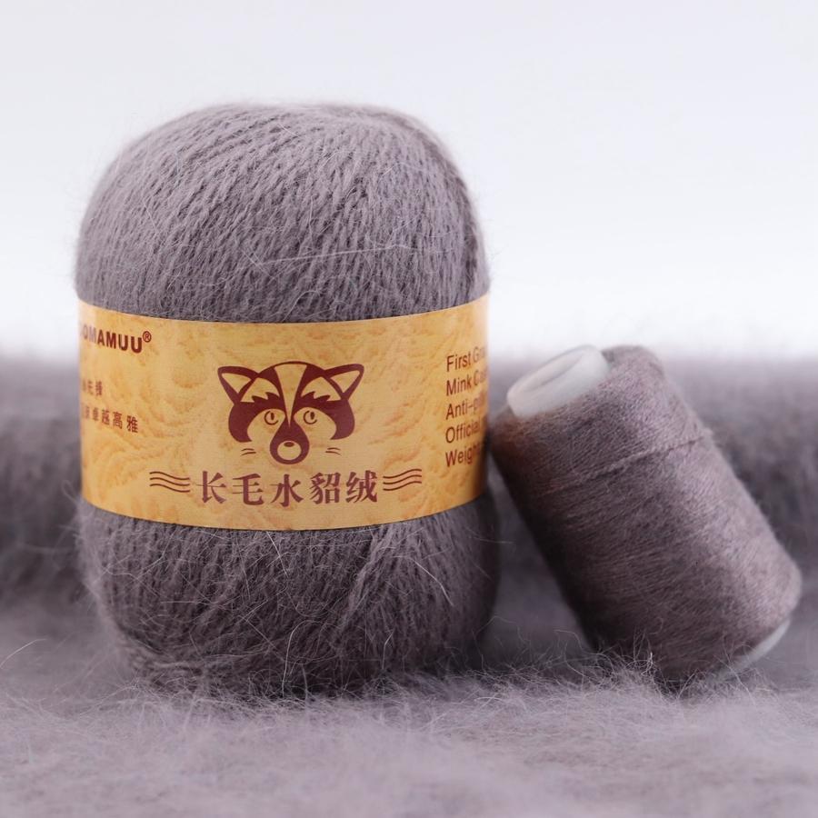 50 + 20g / set Solid Color Hand Stricken Plüsch Nerz Haargarn Feine Qualität Crochet Thread für Cardigan Schal-Hut Geeignet für Frau