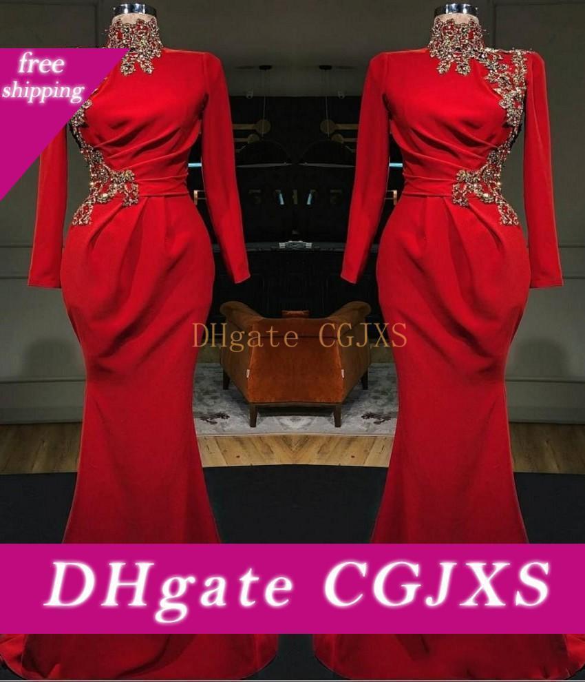 Nouveau Tony Chaaya 2020 dentelle Appliqued Sheer col en V formel SOIRÉE Robes See Through Illusion rouge sexy sirène Robes de bal Bc2472