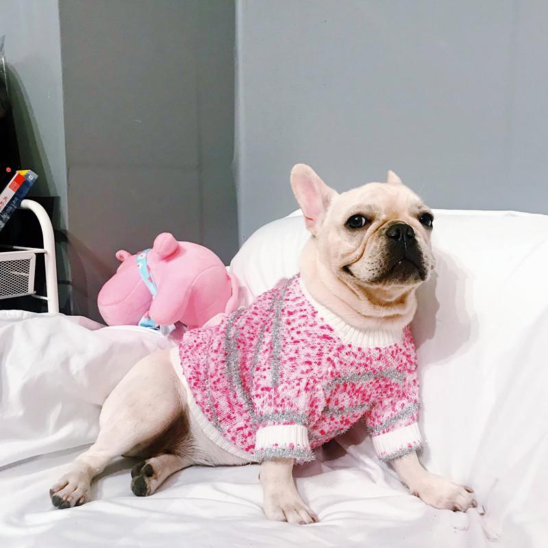 [MPK perro suéteres] a base de rosa New French Bulldog suéter, Apto para perros pequeños de grasa