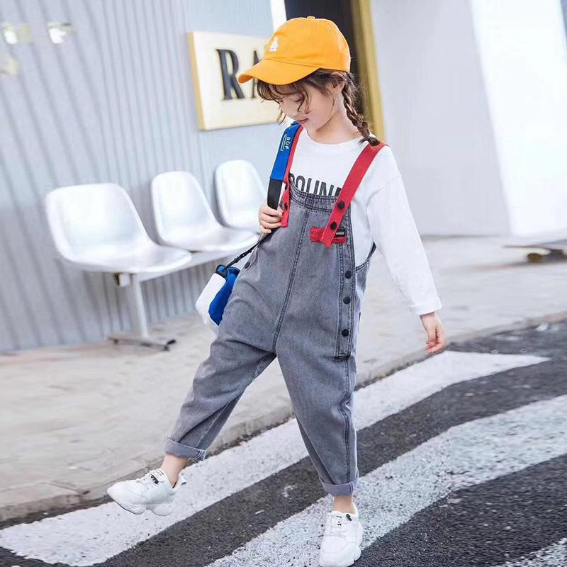 Cuhk Children's Webbed Denim Overalls Teenager Girl Pure Color Cowboy Suspenders Pants Toddler Kids Straps Jeans Casual Trousers