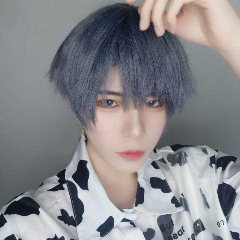 Buqi synthétique Perruques Blond Noir Mixte Bleu Gris Court Homme Perruques droite pour Garçons Filles Ladies Party Anime Cosplay Halloween G5g2 #