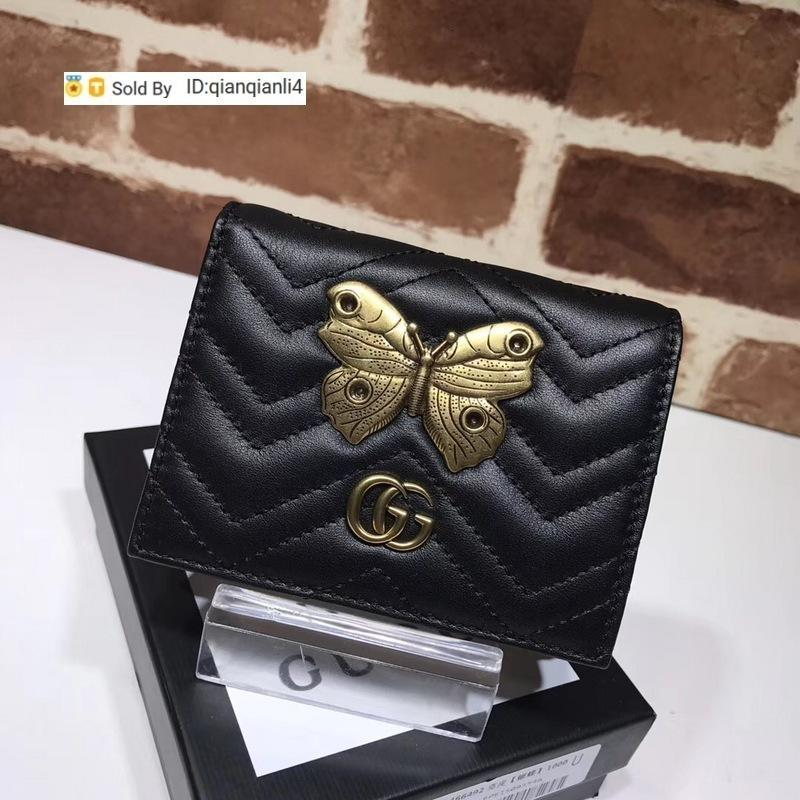 qianqianli4 OVZE Top Quality Celebrity Letter Metal Buckle V-shaped Wallet Butterfly insect Card Back Cowhide Leather 466492 Purse
