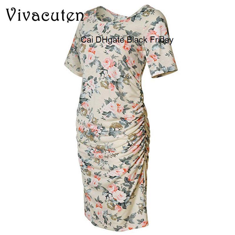 Maternity Dresses Summer Maternity Women Clothes Floral Print O-Neck Short Sleeve Pregnancy Dress Fashion Women Dress Clothes