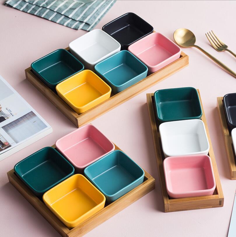 Snack scomparti ciotola la casa soggiorno snack bambù ceramica ciotola frutta secca bagagli ristorante condimento ciotola