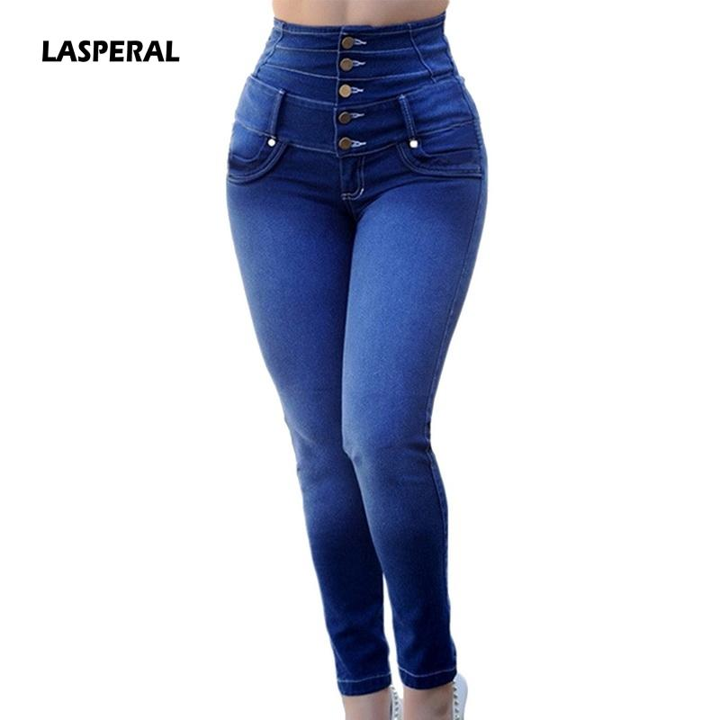 LASPERAL المرأة الربيع تمتد عالية الخصر عارضة مستقيم الصدر-جينز فام سليم الصلبة الدينيم زائد الحجم 3XL جينز سروال 2020