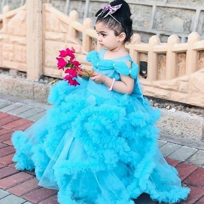 الأميرة الخط الأزرق زهرة فتاة فساتين المتدرج الكشكشة مسابقة فساتين سندريلا للأطفال حزب جميل سرعته اللباس توتو تنورة
