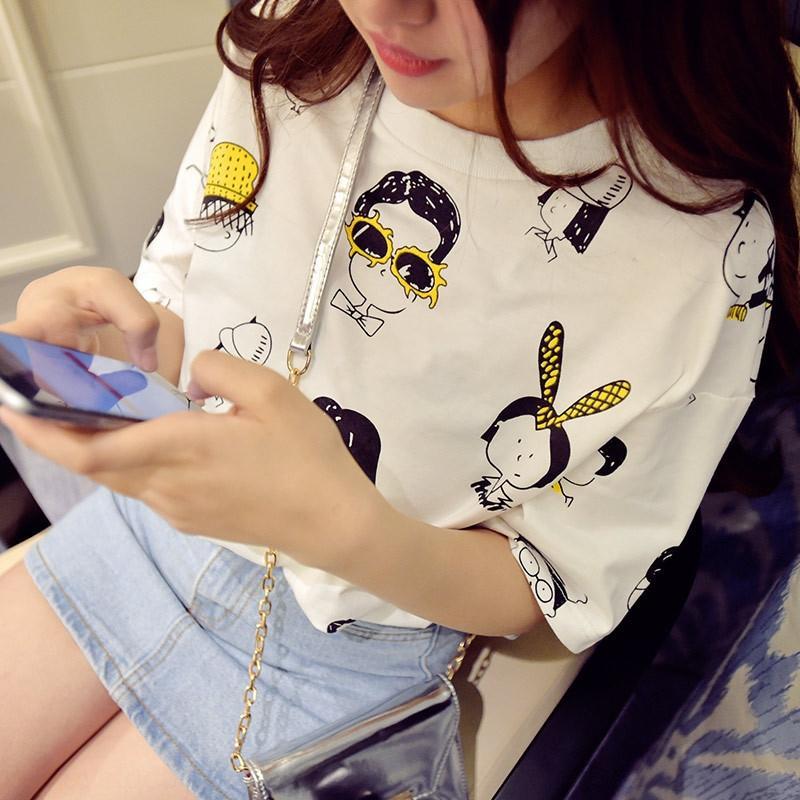 VtinE Cartoon T- de manches T- court féminin 2020 shirt d'été femme coréenne bande dessinée drôle chemise lâche de base étudiante