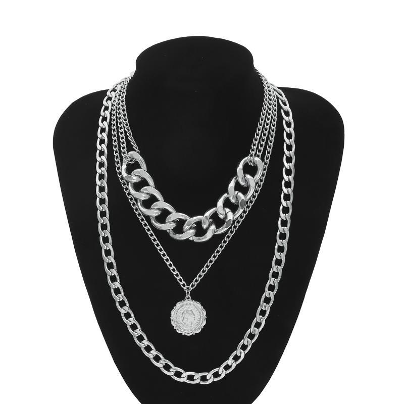 ICNWAY NecklaceHeavy Metal Texture Queen Embossed Pendant Item Sweater Chain Female Simple Multilayer Necklace