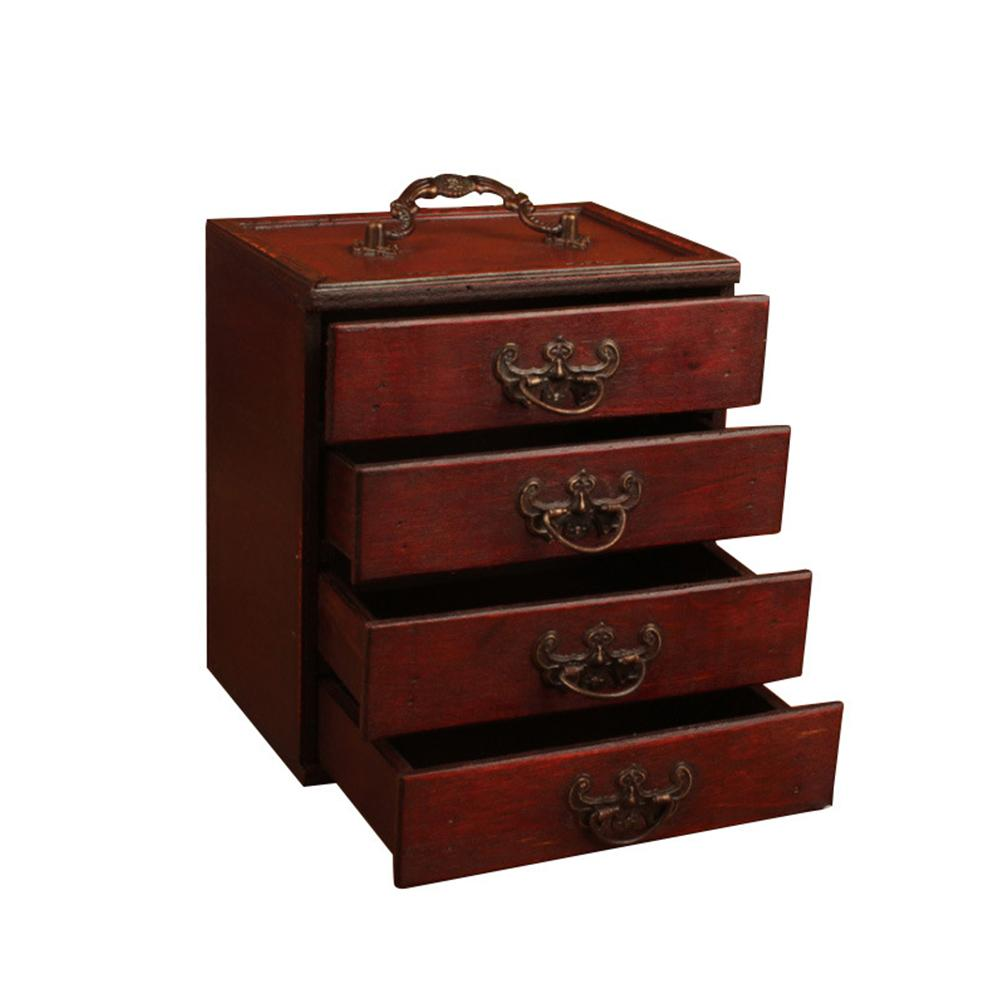 For Women 4 Drawers Wooden Jewelry Box Portable Handmade Antique Earrings Necklace Wedding Gift Storage Organizer Large Capacity MX200810