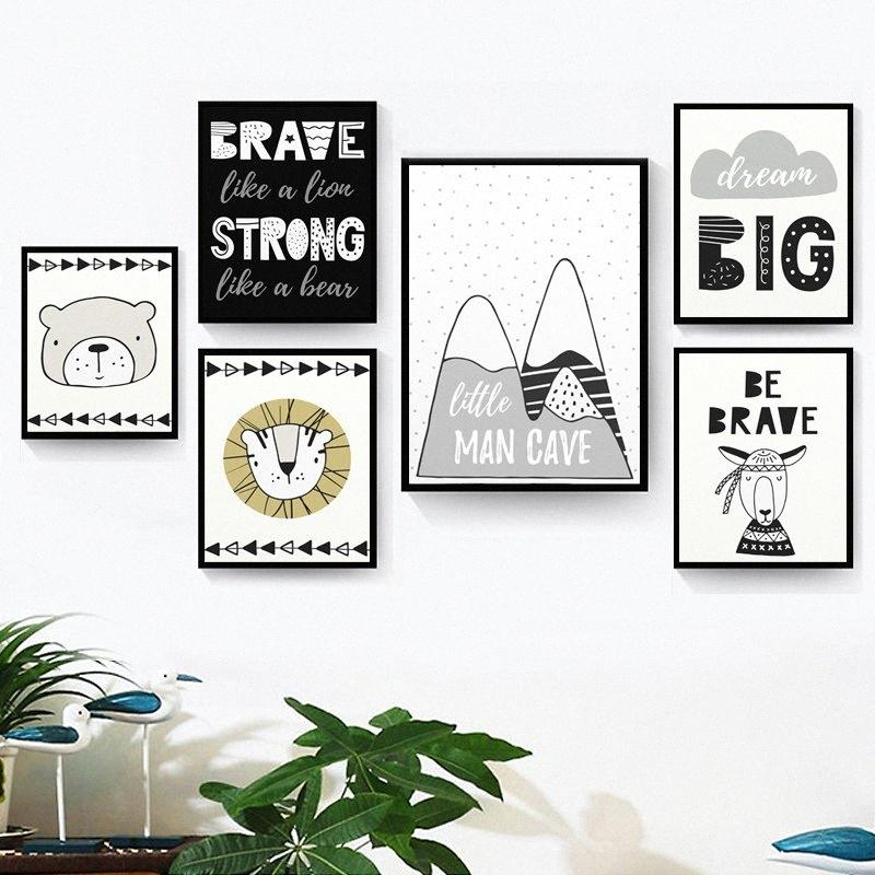 Nordic minimalista Art Orso Leone su tela poster Cartoon Animal Inspiring quote Print parete Immagine neonato maschio Room Decoration AGEH #