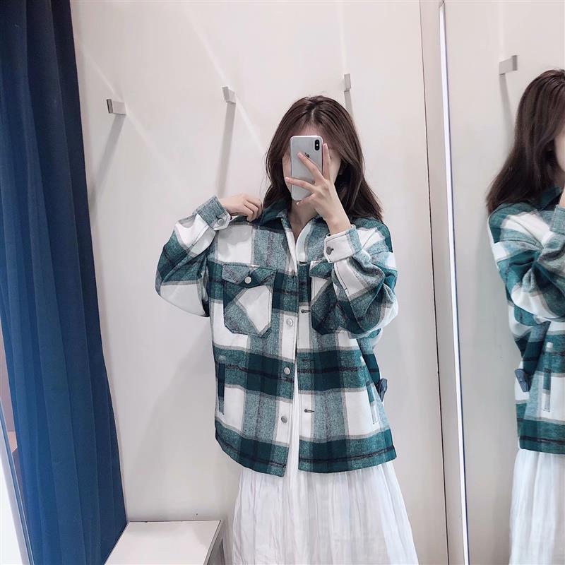 Kadın Ceketler Güz Ceket Kadın Büyük Boy Sonbahar Kareli Cepler Giyim Bayan Yeşil Beyaz Ekose Streetwear