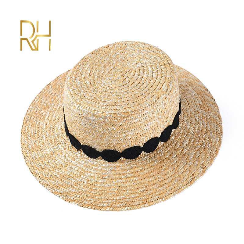 Femmes d'été Paille de blé Plage Chapeau pour Voyage de vacances avec ruban large Brim Ladies Flat Top Sun Cap RH