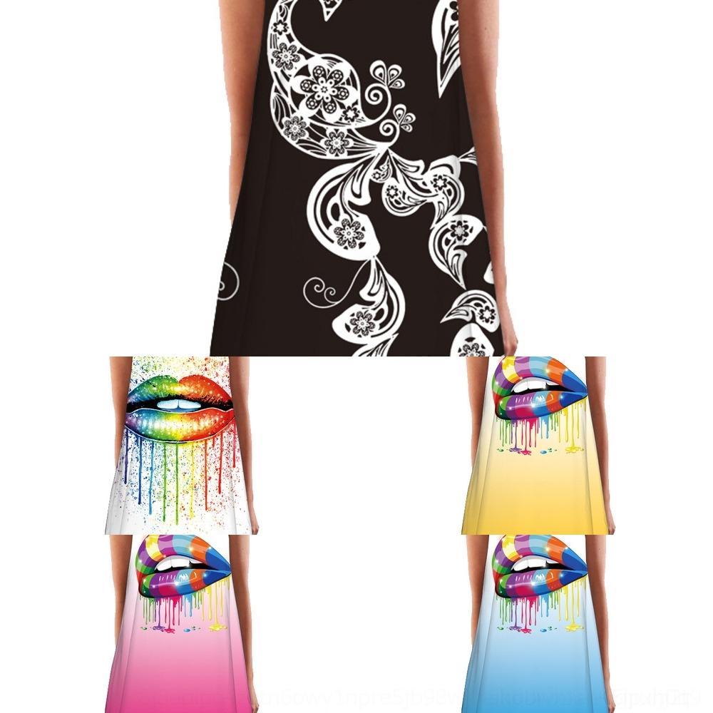 sHlsb j2fQG vestito di lunghezza media stampati neckshoulder rotonda di media lunghezza Nuovo digitale stampato gilet tondo vestito neckshoulder La nuova maglia digitale