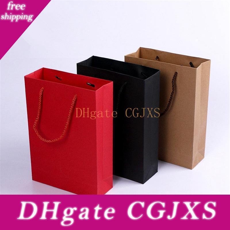 Packpapier-Geschenk-Beutel mit Handgriff Shopping Package-Beutel für Weihnachten Neujahr Hochzeit Geburtstag-Party-Geschenk Größe 19x7x27cm