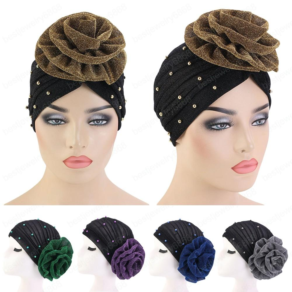 Muslim Hat Women Big Flower Ruffle Cancer Chemo Beanie Scarf Turban Head Cover Adult Wrap Caps Bonnet Arab Beanie Headwear