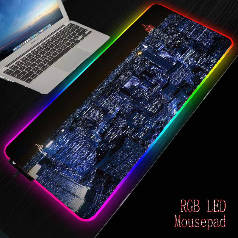 MRGBEST New York City Landscape Pad Gaming Mouse Pad RGB LED desktop rubber Mouse-pad all size for Gamer