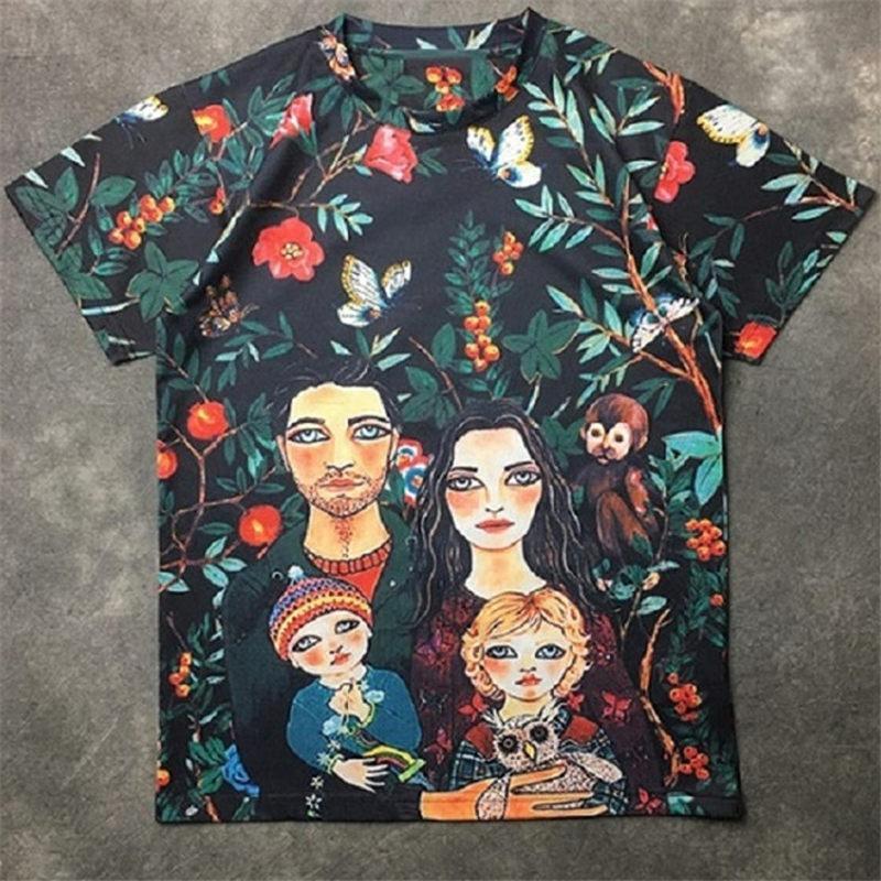 Moda hombre Camiseta 2020 de la flor de la familia de la calle famosa de alta calidad de impresión de la manga corta camisas 20ss Hombres Mujeres Parejas Estilo Hip Hop Tee