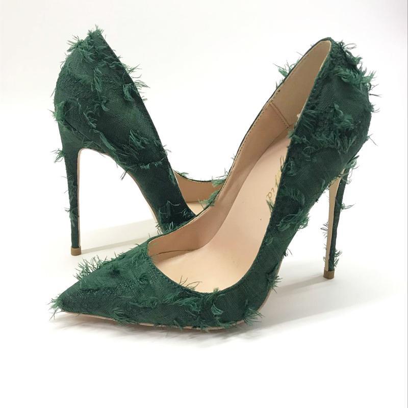 scarpe da donna tacco alto verde marca di modo scuro bocca sexy poco profonda sottile e appuntito con i singoli pattini 12cm alti del partito di sera tacco LJ200925