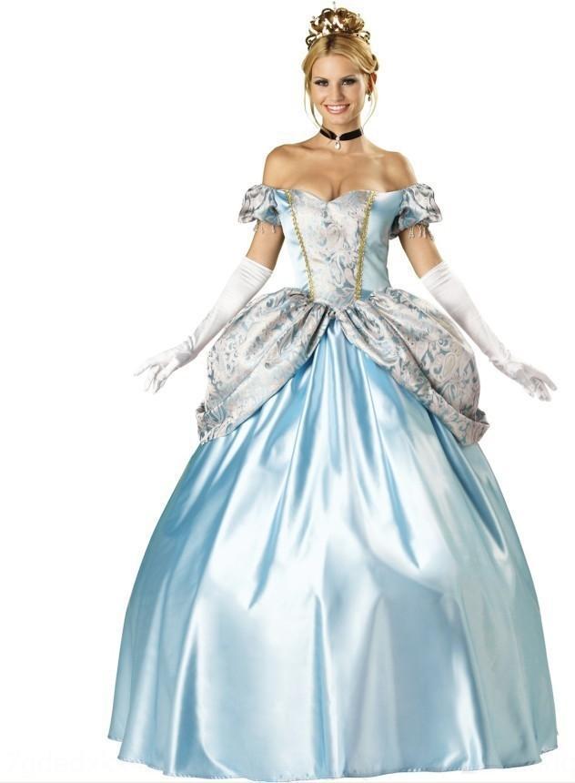 yPj6g Kostüm Court Halloween Cosplay Cinderella Service Princess Service Sisi Princess Kleidung Schnee Kostüm