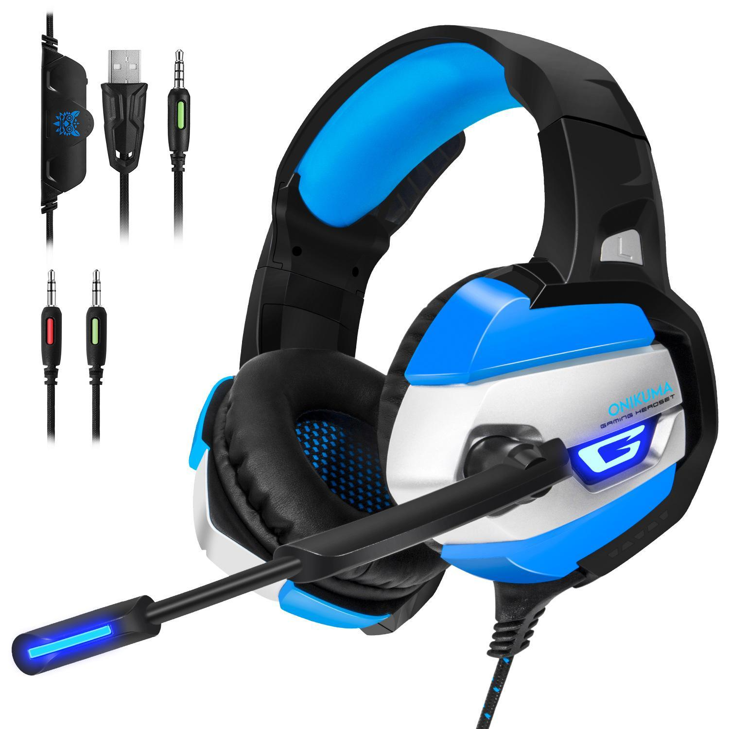 cgjxs Onikuma K5 Gaming Headset Gamer Casque Deep Bass Gaming Headphones For Ps4 Computer Pc Laptop Notebook With Microphone Led Light