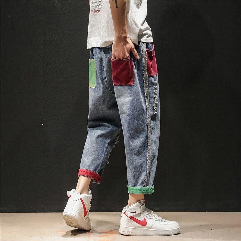 7s5ao SjQEJ Mode de rue jean Ripped hommes empaquette sport coréen sueur mince pantalon de sport tailles Plus pantalon mode masculine élégante SPRI élastique