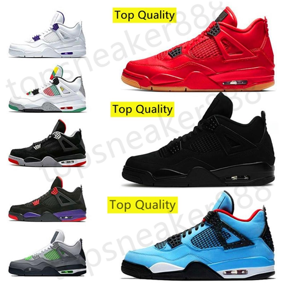 أعلى جودة 2020 أحذية كرة السلة للرجال OG 4S أحذية عالية ترافيس سكوتس UNC الأبيض Cemen jumpman رجل إمرأة حذاء رياضة الرياضية