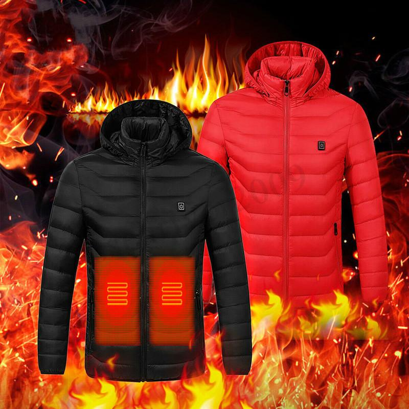 2020 Winter Heated Jackets Men Thermal Heating Clothing Outdoor Coat USB Electric Battery Long Sleeves Heating Hooded Jackets