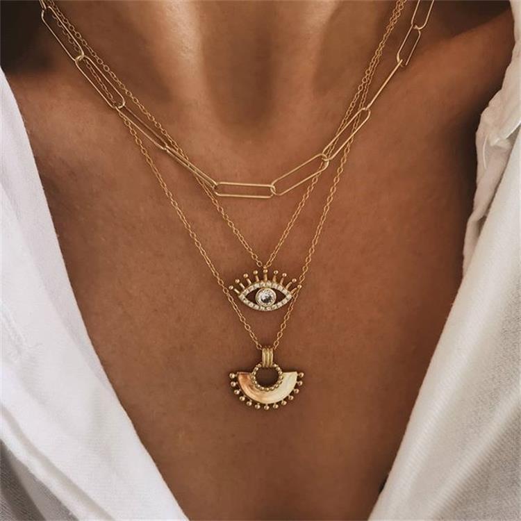 S1614 Hot Bohême bijoux multi-couches chaîne Collier DIVA petite jupe yeux collier pendentif en éventail