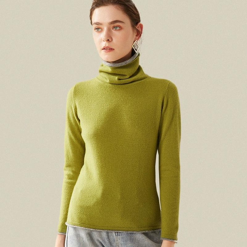 echte Wollpullover Rollkragen Winterfrauen Patchwork der doppelten Schicht hohen Kragen warmen Pullover weibliche lange Ärmel lässig Pullover Gdv3 #