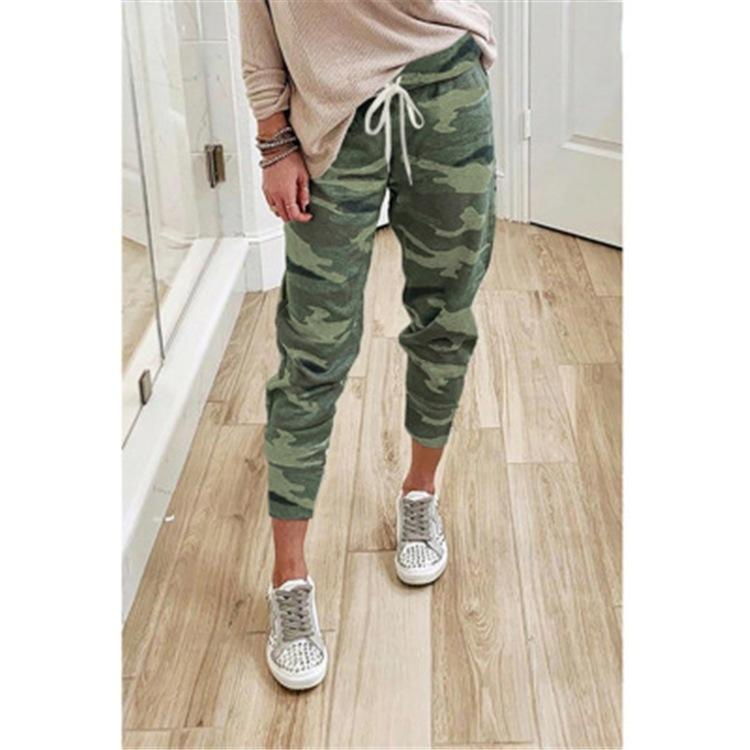 Best Selling Womens Popular Camouflage Printed Lace-up Pants Womens Leggings