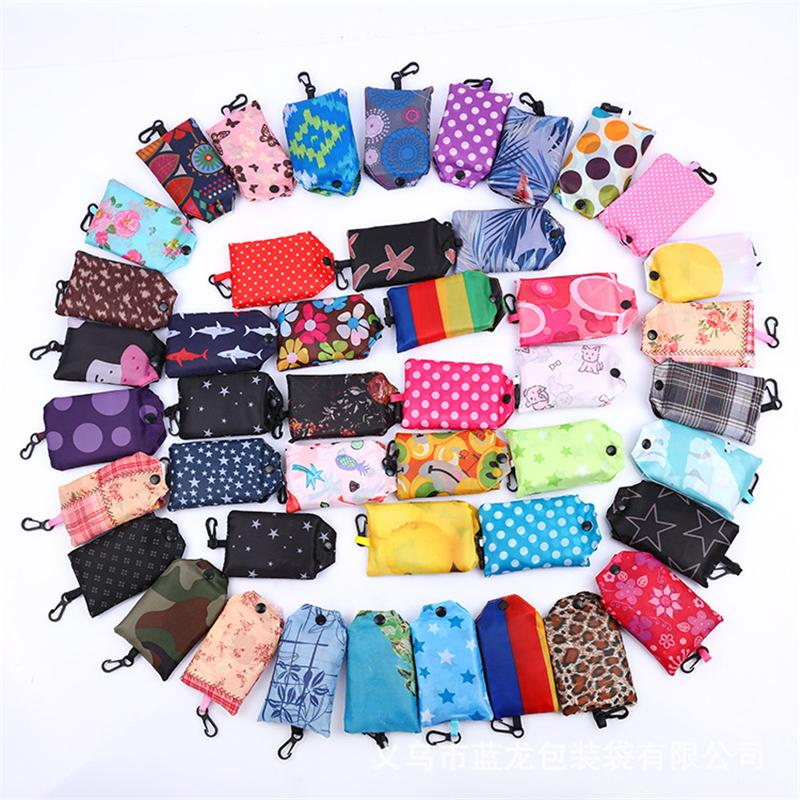 صديقة للبيئة تخزين حقيبة ساحة حقيبة تسوق 190T الطي التي يعاد استخدامها الكتف المحمولة حقيبة البوليستر لأكياس البقالة السفر