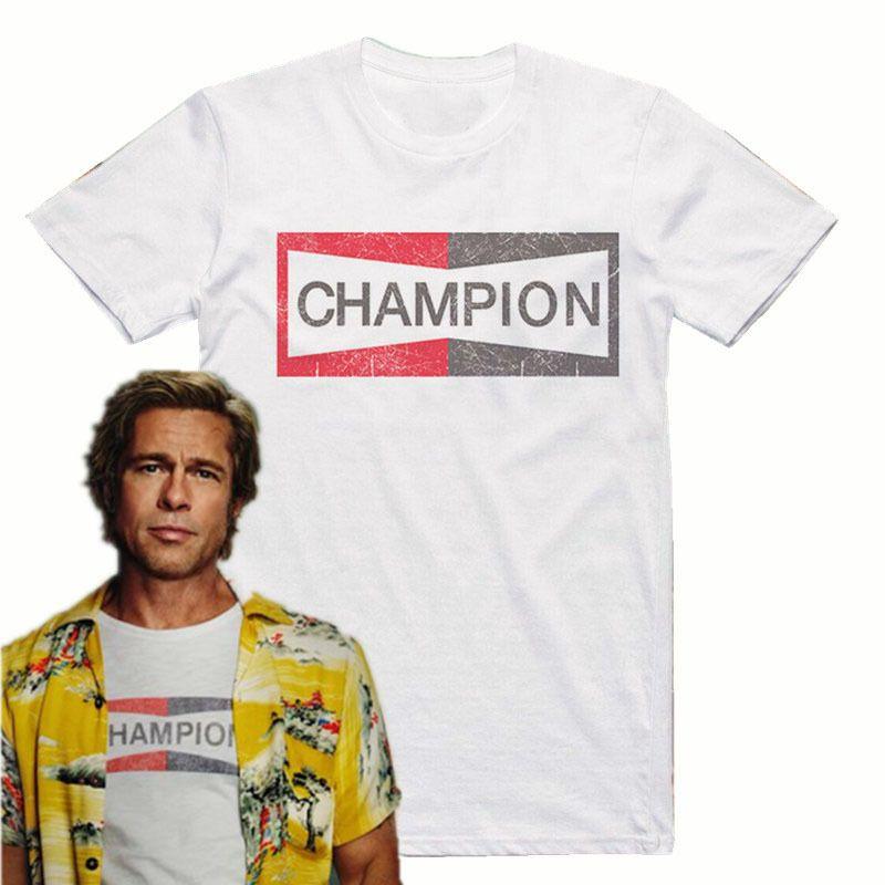 Era uma vez em Hollywood Brad Pitt Champion Auto Camiseta Homens Casual Tee EUA Tamanho S-3XL LJ200827