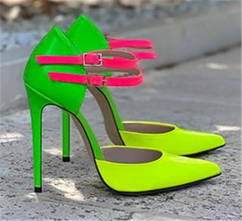 Kadınlar Seksi Sivri Burun Stiletto Topuklar Patchwork Bilek sapanlar Yeşil Deri Yüksek Topuklar Formal Elbise Ayakkabı Büyük Boy Ayakkabı pompaları