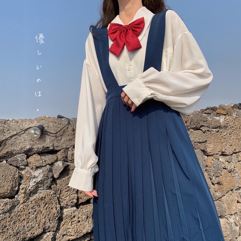 اليابانية الخريف KAWAII كيه البدلة الموحدة القمصان البلوزات سويتي القوس فضفاض كم الأبيض لطيف مطوي حمالة فساتين اثنين من قطعة بدلة