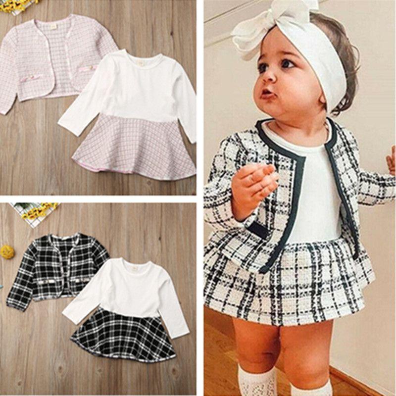 Baby-Kleinkind-Mädchen zweiteiliges Kleid Set Designer-Muster-Plaid-Mantel-Kind-Jacke und Rock Prinzessin Kleider Kleidung formale Klage Tuch D82802