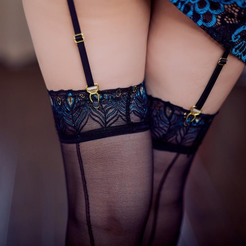transparente pluma de pavo real tentación atractiva negro ultra delgadas medias medias ropa interior de seda de seda de la ropa interior atractiva de las mujeres qRHWz