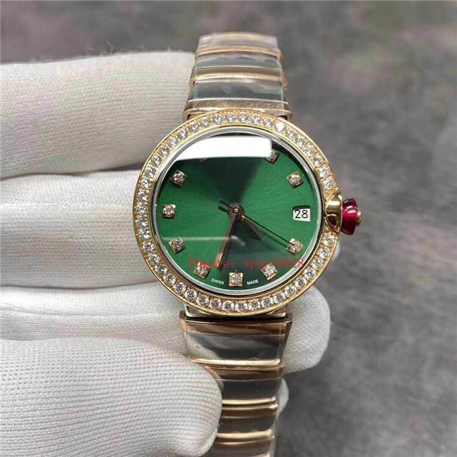 33 mm oben 18K Rotgold mit feinen Stahlgehäuse Lünette 43 hell Diamanten Japan 9015 Bewegung mechanischen Saphirkristallspiegel
