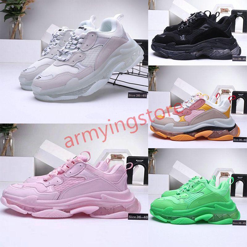 2020 BalenciagaTriple-S3.0 shoesLuxuryBrand Chaussures semelle blanche vert clair gris marine vert noir Hommes Femmes Chaussures de sport rouge Fluo Paris Formateurs papa