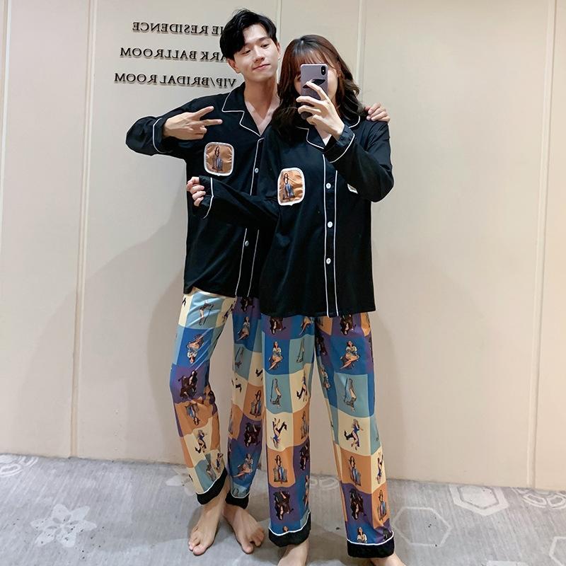 mince et à l'automne imitation modale manches longues costume style des hommes été ins lâche dessin animé Couple vêtements de la maison des femmes de pyjamas de printemps NEd98