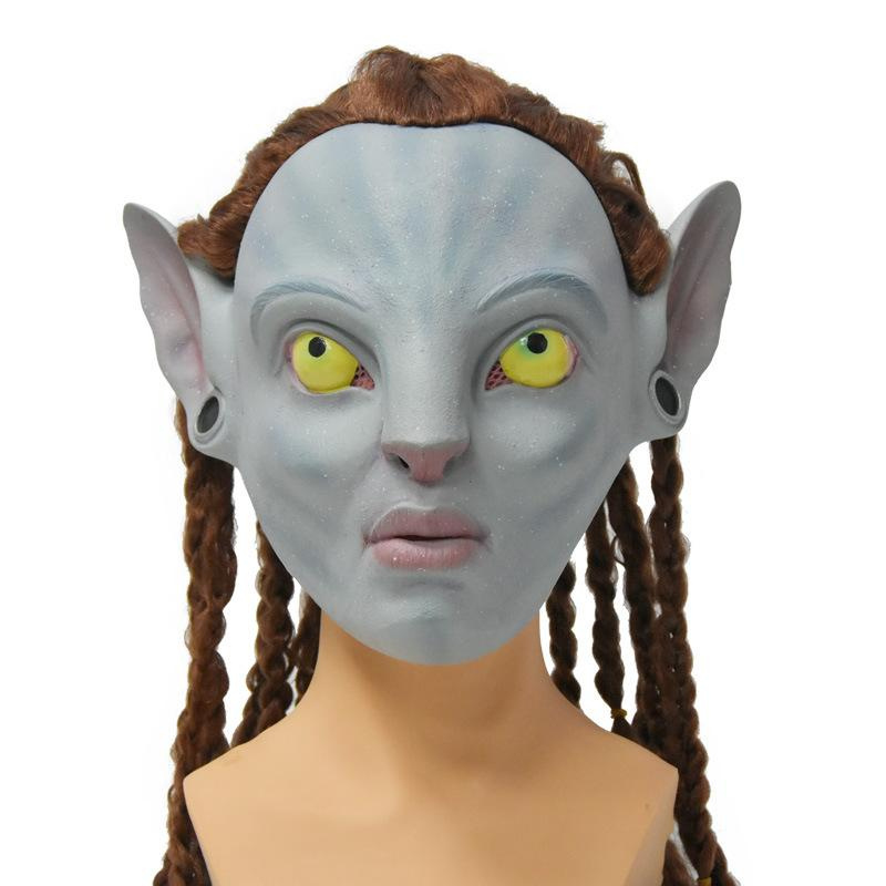 2pieces Avatar masque Halloween émulsion de latex naturel Habillez fête masque de Noël masque de danse visage pleine forme homme / femme 26x26x0.8cm