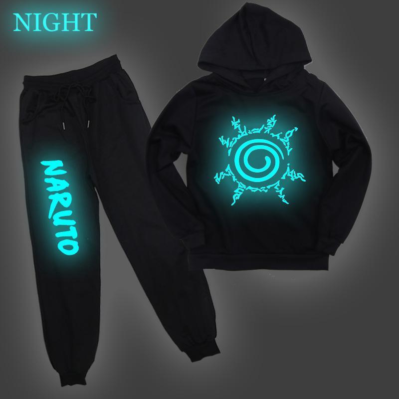 Naruto Uzumaki enfants Vêtements imprimés lumineux Garçons Filles coton répondent à capuche Sarouel Costume jogging Casual X0923