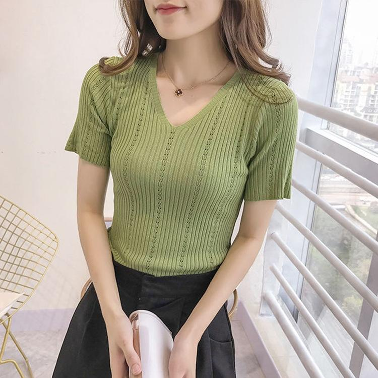 IBh3o été nouveau tout-match au sommet chemise de base tricot coréen T- mince respirant soie col V à manches courtes creux sur la mode féminine T-shirt de glace